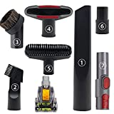 Vacuum Attachments Household Cleaning Kit Vacuum Cleaner Accessories, Air Driven Pet Upholstery Turbo Brush Vacuums Nozzle with 32mm to 35mm Standard Hose Adapter & Dyson V8 Adapter, 8 Pack