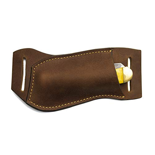Gentlestache Leather Pocket Knife Sheaths for Belt, Folding Knife Sheath, EDC Belt Knife Sheath for Folding Knife, Compact Draw Knife Holster Brown