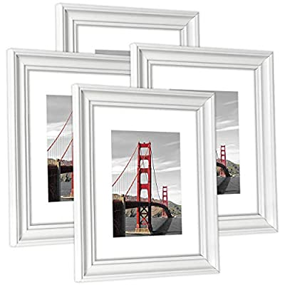 Hap Tim 8x10 Picture Frame White Wooden Photo Frames for Tabletop Display and Wall Decoration, Set of 4 (CWH-8x10-WT)