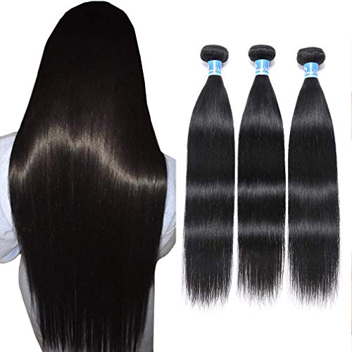 "10A Peruvian Straight Hair 3 Bundles Virgin Human Hair 100% Unprocessed Peruvian Straight Virgin Hair Bundles 100g Per Bundle Double Weft Can Be Dyed and Bleached 18"" 20""22"" inches"