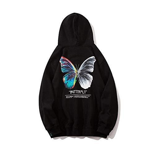 Hoodie für Damen,Kapuze mit TunnelzugHerren Hip-Hop Street Loose Pullover, 3D Butterfly Print Hoodie Pullover Langarm Herren Frühling, Herbst und Winter-schwarz_M.