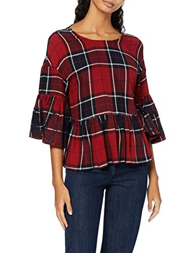 Amazon-Marke: find. Damen Bluse mit Karomuster, Rot (Red Check), 38, Label: M