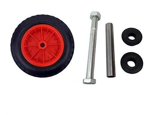 Keto Plastics  PU 14' Puncture Proof RED Wheelbarrow Wheel Tyre 3.50-8 foam filled + AXLE