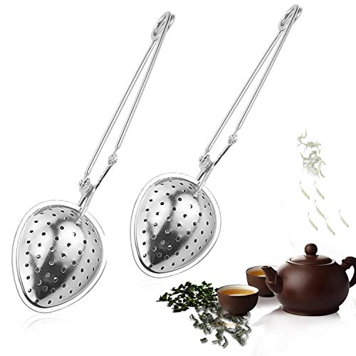 Zaloife Infusor de Té de Acero Inoxidable, Infusor te Colador dete Filtro de té Cuchara de Hojas de té Hierba Malla Filtro de Bola Filtro de Compresión Forma de té Infusor Pinza (Tea Strainer Spoon)