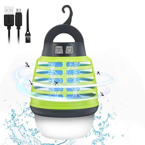 KINGSO Elektrischer Insektenvernichter UV Moskito Lampe, Insektenvernichter Mückenlampe Camping Outdoor, Tragbare Campinglampe IP67 Wasserdicht, USB Insektenlampe