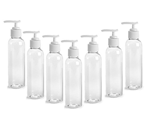 CLEAR PET Cosmo Plastic Bottle (PBA Free) 4 Oz w/White Lotion Pump Dispenser (6 Bottle Pack) by Grand Parfums