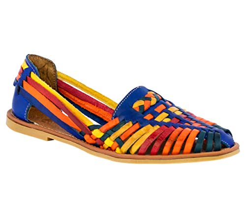 Women's 110 Rainbow Real Leather Sandals Mexican Huaraches Closed Toe Slip On 9