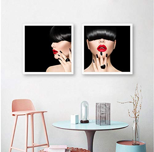 Fashion Model Girl Trendy Fringe Hair Prints Vrouw Make Lippen Manicure Poster Canvas Schilderij Schoonheidssalon Wall Art Decor 50cmx50cmx2pcs frameloze