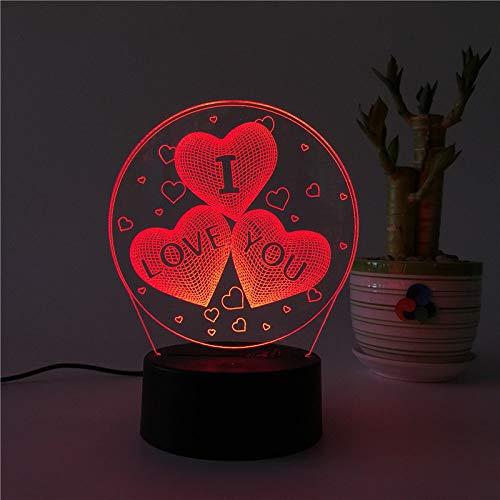 Luz de Noche led de Navidad Árbol de Navidad Luces de Colores atenuación táctil Dormitorio lámpara de Mesa de Dibujos Animados Logo 3 corazón lov