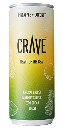 CRAVE Drinks Natural Energy Drink, Vegan, Gluten Free, Sugar Free, (Pineapple and Coconut) - 250ML (24 x 250ml)