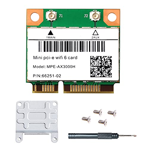 MPE-AX3000H Dual Band WiFi 6 Card 802.11ac ax Wireless Half Mini PCI-E WiFi Card PCI Express Network Adapter BT5.0 2.4GHz 574Mbps 5GHz 2.4Gbps(160MHz) for Windows 10 64 bit Better 7260HMW WiFi Card