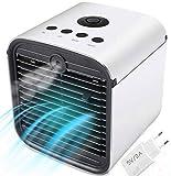 Nifogo Aire Acondicionado, Mini 3 en 1 Personal Enfriador de Aire Purificador de Aire Humidificador y Purificador, USB Ventilador Escritorio con 3 Velocidades y 7 Colores LED Luz de la Noche (Blanco)