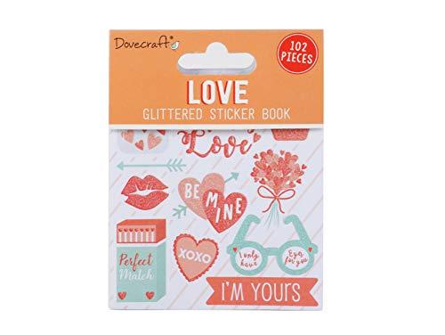 Dovecraft Book-Love-98 Adesivi Glitterati per Artigianato, cancelleria, diario, Carta, Multicolore, Taglia Unica