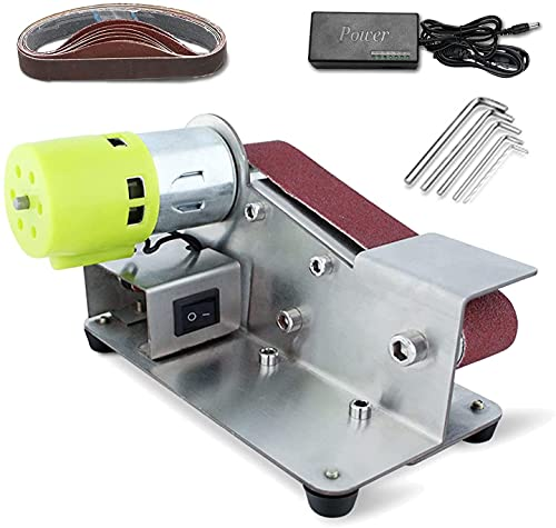 wsbdking Mini Electric Belt Sander DIY Multifunctional Knife Apex Edge Sharpener Polishing Grinding Machine with 96W Power Supply and 10 Sanding Belts (Color : 775)