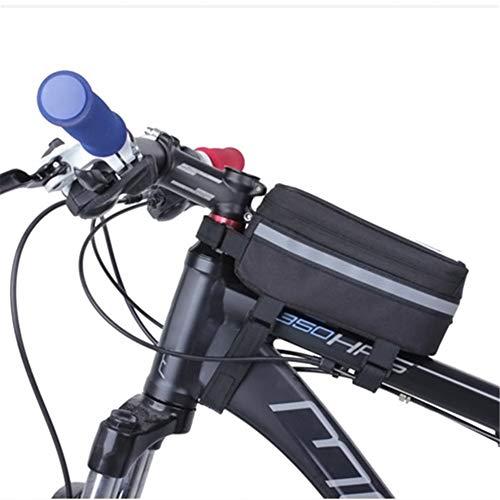 ASOSMOS Bike Bag, Borsa Bicicletta Frame & Pannier per iPhone x/6s/6s Plus/7/7Plus/8/8Plus, Samsung Galaxy S7S6Plus e Altri cellulari 12,2- 14,5cm, ASOSMOS-1000251, Nero, L
