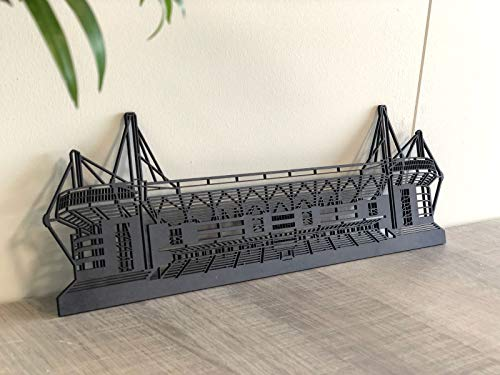 City Shapes – 3D Dortmund Stadion aus Holz – Verschiedene Größen – detailliertes Holzmodell – Wanddekoration – Signal Iduna Park Modell – Holzschnitt (MDF schwarz, 80 cm)