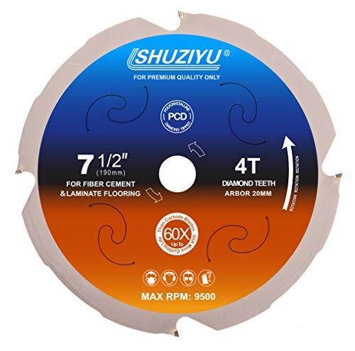 LSHUZIYU 190 mm, 4 unidades, arbor 20 mm, punta de diamante policristalino 4 PCD, hoja de sierra circular de fibra de cemento.