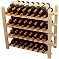Stackable 60 Bottle Capacity Wine Rack Wooden Stand, WN60 (60 Bottles Capacity:4 rows)