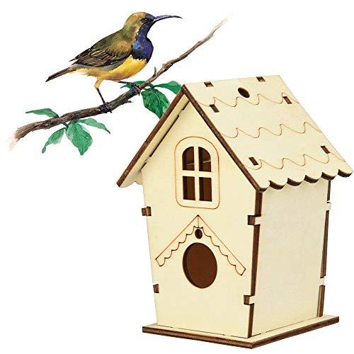 Hukz Hölzerne DIY Vogel Nistkasten Bausatz, Einflugloch zum Aufhängen, Stabiler Vogelhaus Vogelhäuschen Nisthaus Bird House Für Meise Wellensittiche Rotkehlchen Nymphensittich Rotschwänzchen by