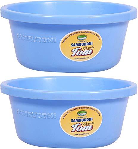 Shreekanth enterprises Samruddhi Plastic Tom Multipurpose Ghamela/Tub (25 x 22.5 x 11 cm, 3 L, Blue, Pack of 2)