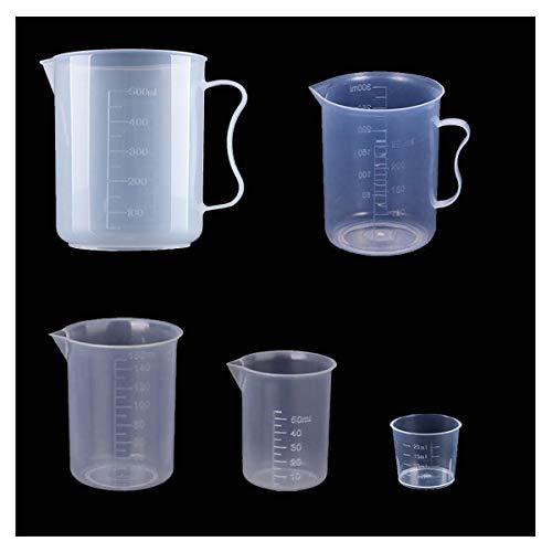 DBAILY Vaso Graduado Plástico, Vaso Graduado 20 ml 50 ml 150 ml 250 ml 500 ml Reutilizable Transparente Vasos Dosificadores para Cocina Laboratorio