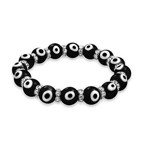 Turco Mal Ojo Blanco Negro Glass Tretch Pulsera Elastica Mujer Rondelle Eparadores Cristal para Protección Y Buena Uerte