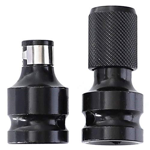Sonline 1 Juego de Acero de 1/2 Pulgada Cuadrada una 1/4 Pulgada Hexagonal Llave de Tubo de Trinquete Adaptador Enchufe Juego de Llaves Convertidor de Accionamiento Herramienta de Impacto