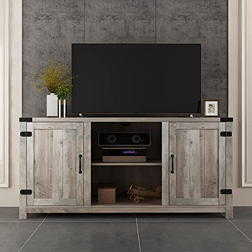 BAOLEJIA Tall TV Stand for Up to 65 Inch Flat Screen Universal TV, TV Console Table in Rustic Gray Wash, TV Entertainment Center, Television Stands, 59 Inch