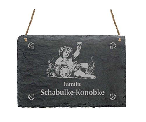 Leistenen bord « Familie -IHR NAME- » met WEIN motief - 22 x 16 cm - Türschild van leisteen Winzer rode wijn witte wijn