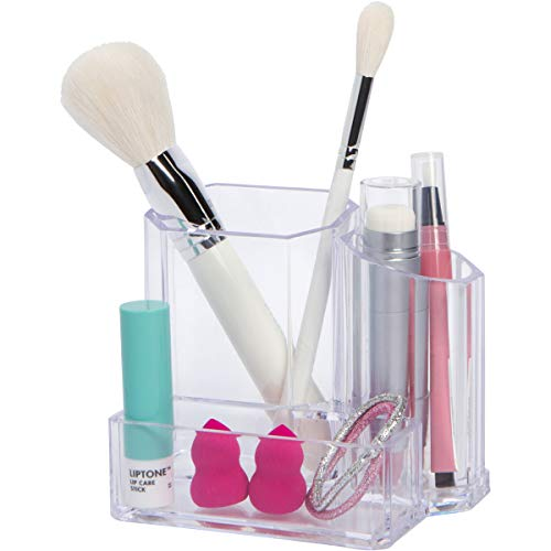 Small clear makeup brush holder by Groovi Beauty | Multipurpose acrylic cosmetic organizer with 3 compartments - store brushes, blenders, pencils, eyeliners - perfect fit for vanity, sink, bathroom