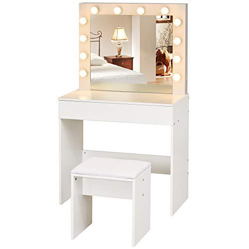 homcom Set Tavolo da Trucco con Specchio, 12 Luci LED, Sgabello Imbottito e Ampio Cassetto in Legno Bianco, 80x40x140cm