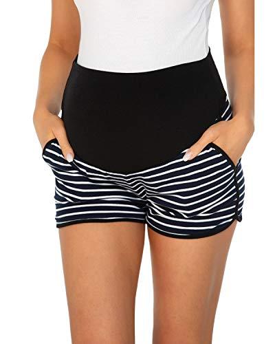 Love2Mi Umstandsshorts Damen Komfortable Kurze Umstandshose für Sommer, Dunkelblaue Streifen,L