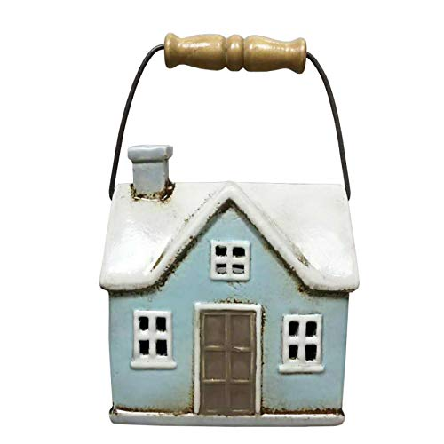 Quay Traders Vintage Style Cottage Shaped Lantern With Wooden Handle – Blue and White Ceramic House Candle Votive Ornament