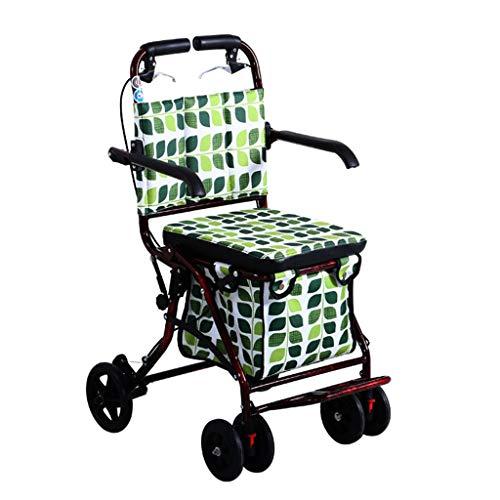 RenShiMinShop ouderwetse winkelwagen opvouwbare stap-voor-stap winkelwagen met stoel vierwielige boodschappenwagen verstelbare oude winkelwagen