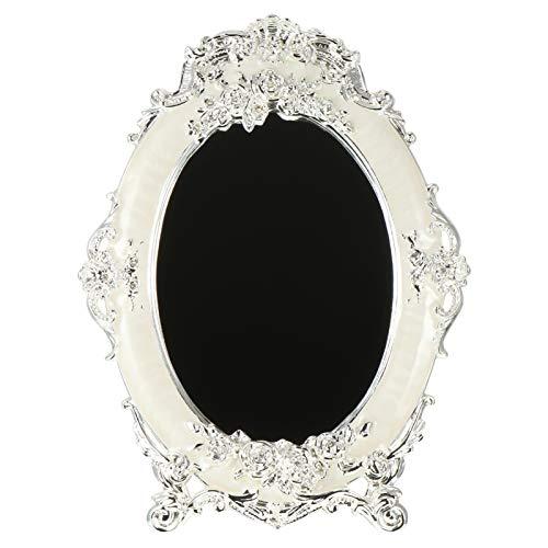WINOMO Espejo de Maquillaje de Escritorio de Estilo Retro Antiguo en Relieve Rosas de Pie Espejo de Tocador Ovalado Espejo Cosmético de Tocador Decoración del Hogar (Blanco)