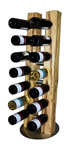 Wood & Wishes – Rustikaler Weinständer, Weinregal, Weinhalter aus Massivholz mit Edelstahl; gefertigte Handarbeit für 14 Flaschen Wein; dekoratives Unikat; Treibholzoptik; Ø 34 cm Höhe 100 cm