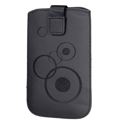 Handytasche Circle für Wiko Stairway Handy Tasche Schutz Hülle Slim Hülle Cover Etui schwarz (black) mit Motiv, inkl. Klettverschluss & Gürtelschlaufe (ku-xx1-sw-ci)