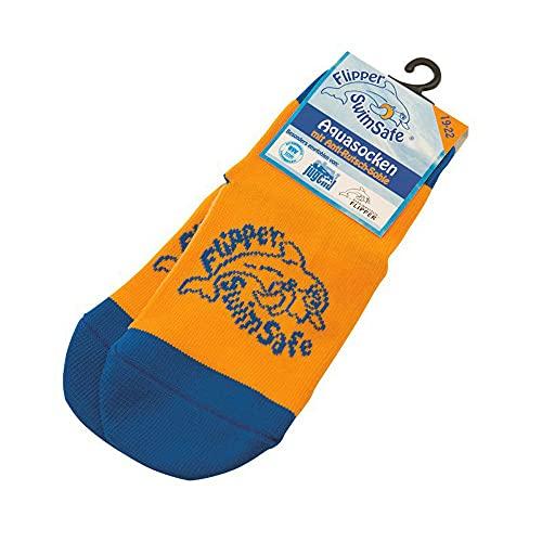 Flipper Swimsafe 1051 - Aquasocken mit Anti-Rutsch-Sohle in Blau-Orange, für Kinder und Kleinkinder, Größe 19 -22, ideal für den unbeschwerten Schwimmbadbesuch