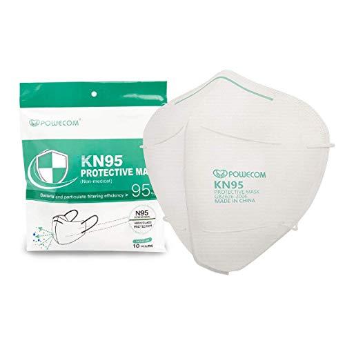 Powecom KN95 Face Mask Reusable, Disposable Masks on FDA EUA List, Protection for Dust Pollen, 10 Pack