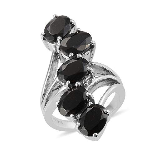 TJC Five Stone Ring for Women Size J Black Tourmaline Gemstone Jewellery for Anniversary in Stainless Steel
