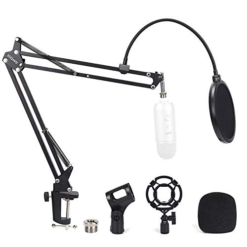 Desktop Microphone Stand, mic Boom arm with Shock Mount, Adjustable Suspension Boom Scissor Arm with pop Filter for Blue Yeti Snowball,Radio Broadcasting and Recording (A1)