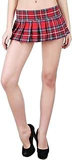 Women Checkered Pleated Micro Mini Skirt Best Cos-Play Costume Skirt