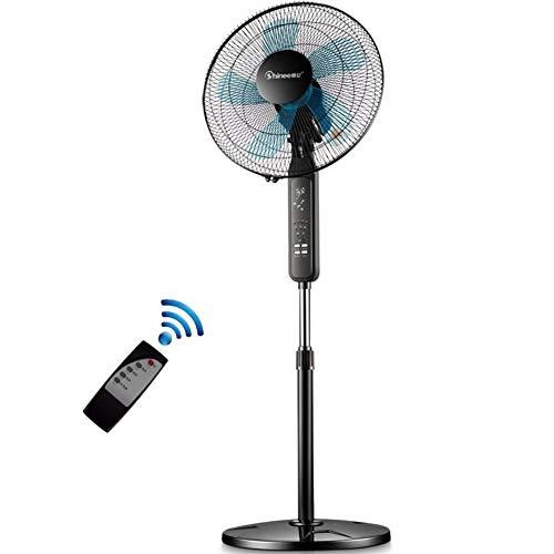 Cooler 360 oscillerende staande ventilator, in hoogte verstelbaar, 3 snelheden. Staande ventilator, elektrische vloerventilator met 5 bladen, afstandsbediening, timer-fan decoratie. 41x125cm (16x49inch) zwart