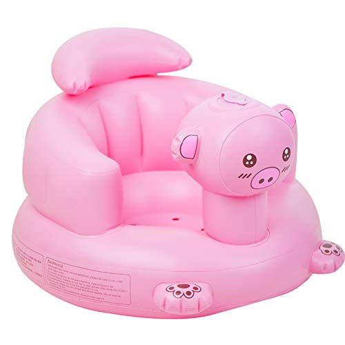 Anabei Espesar rosa cerdo bebé inflable sofá bebé silla de aprendizaje BB asiento silla de comedor portátil con taburete de baño de PVC juguete