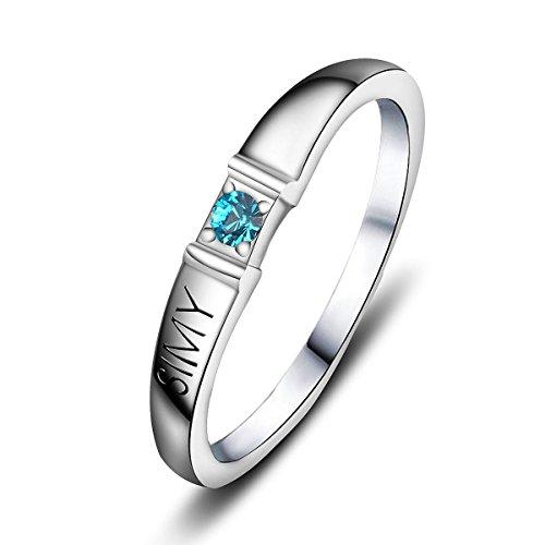 Quiges Damen Personalisiert Gravur Name Solitär Ring 925 Sterling Silber Zirkonia Geburtsstein Ringgröße 50