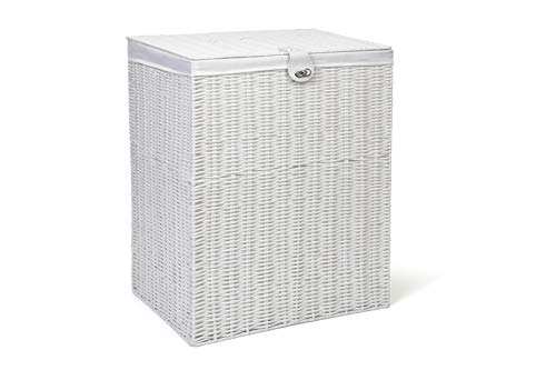 Arpan Medium Resin Laundry Clothes Basket with Lid and Lining Storage Basket with Removable Lining, White