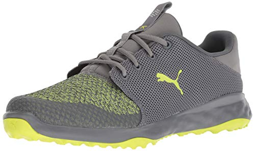 PUMA Golf Men's Grip Fusion Sport Golf Shoe, Quiet Shade-Limepunch, 9.5 M US