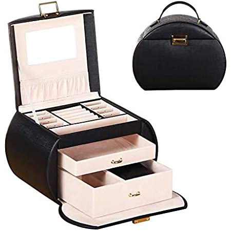 Aco/&bebe House Travel Jewelry Box Organizer Watches//Rings Holder Black Cylinder Watches /& Rings /& Sunglasses Holder Case