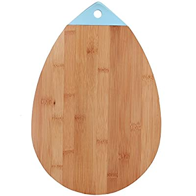 Eco Friendly All Natural Bamboo Cutting Board Oval Teardrop Bamboo Kitchen Country Decor Bar Serving Board Cheese Plate Wood Serving Board Meat Vegetables Fruit Farmhouse 10 x 14.75 Inch