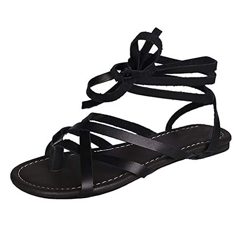 UELEGANS Verano Mujer Cómodos Casual Playa Antideslizante Sandalia Moda Tendencia Cordones Plano Sandalias,Negro,38